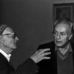 Ignazio Buttitta con Renato Guttuso e Giuseppe Speciale, Bagheria 1985 - Foto Carlo Puleo